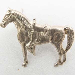 Western Cowboy Rodeo Horse Sterling Silver Brooch